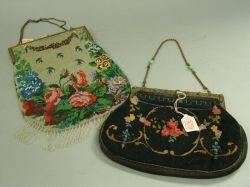 Gilt-metal Framed Floral Beaded Purse and a Jeweled Gilt-metal Framed Needlepoint Purse.