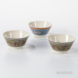 Three Don Carpentier Slip-decorated London-form Bowls