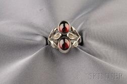 Sterling Silver and Garnet Ring, Georg Jensen
