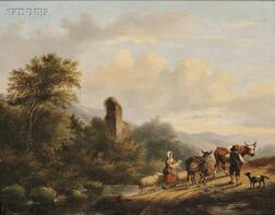 Gerardus Hendriks (Dutch, 1804-1859)      Travelers in a Landscape with Ruins