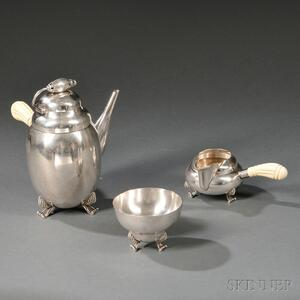 Three-piece Tea Service in the Manner of LaPaglia for Georg Jensen