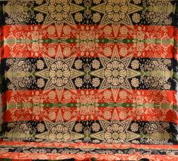 Red, White, Blue, and Green Wool Jacquard Coverlet