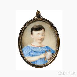 American School, Probably Southern United States, c. 1830-40, Portrait Miniature of a Boy in a Blue Dress Holding a Sprig of Cotton, Un