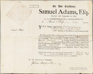 Adams, Samuel (1722-1803) Document Signed, 11 September 1794, Military Appointment for Abiah Bliss Jr., (1768-1858) and an Archive of t