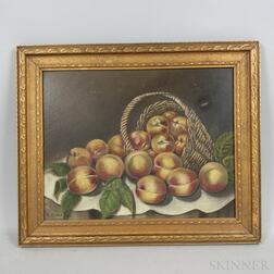 American School, 19th/20th Century      Two Still Life Paintings: Basket of Peaches