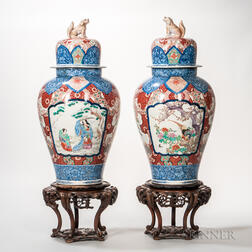 Pair of Imari Lidded Temple Jars