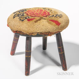 Oval Windsor Stool with Shirred Floral Upholstered Top