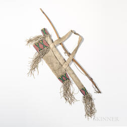 Central Plains Beaded Hide Bow Case, Bow, and Quiver