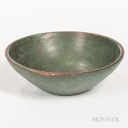 Small Blue-painted Turned Bowl