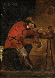 Manner of David Teniers (Dutch, 1610-1690)      Man Smoking in a Tavern