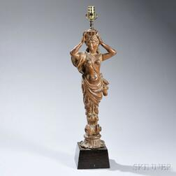 Continental Carved Fruitwood Figural Lamp