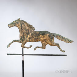 "Molded Copper ""Smuggler"" Running Horse Weathervane"