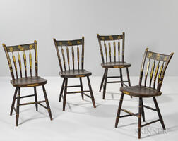 Set of Four Paint-decorated Fancy Chairs