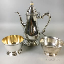 Lunt Sterling Silver Teapot and Two Lunt Sterling Silver Bowls