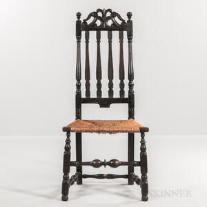 Black-painted Bannister-back Chair with Carved Prince of Wales Cresting