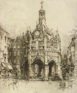 Lot of Two Etchings:  Hedley Fitton (British, 1859-1929), The Market Cross, Chichester, West Sussex