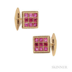 18kt Gold and Ruby Cuff Links