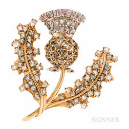 18kt Gold and Colored Diamond Thistle Brooch