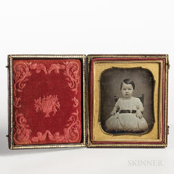 Sixth-plate Tinted Daguerreotype of a Child Secured to a Highchair