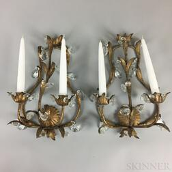 Pair of Gilt-metal Two-light Wall Sconces