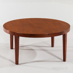 George Tannier Selection Round Teak Veneer Coffee Table