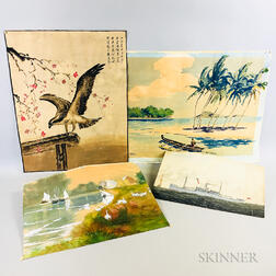 Four Unframed Watercolors