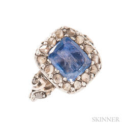 Antique Sapphire Intaglio and Diamond Ring