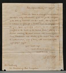 Jefferson, Thomas (1743-1826) Letter Signed as Secretary of State under Washington,   22 February 1791.