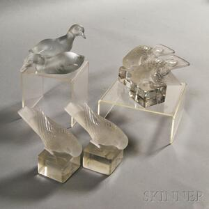 Six Lalique and Baccarat Frosted Glass Birds