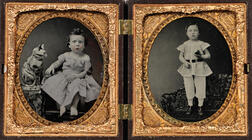 Pair of Sixth-plate Ambrotypes of a Seated Girl with a Large Chalkware Cat and a Child Standing on a Cast Iron Bench