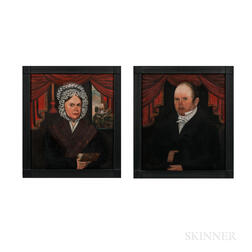 American School, Early 19th Century      Portraits of Mr. and Mrs. Abraham Martling