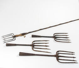 Four Wrought Iron and Steel Eel Spears/Gigs