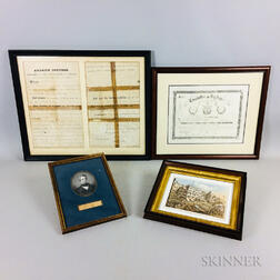 Group of Framed Civil War-era Items