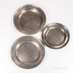 Three Early Pewter Chargers