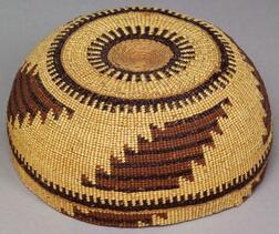 Northern California Polychrome Twined Basketry Hat