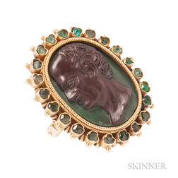 Antique Gold and Hardstone Cameo