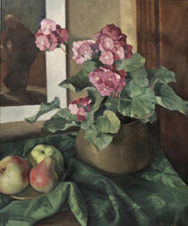 Gertrude Martin Tonsberg (American, 1902-1973)      Still Life with Primroses and Pears