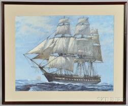 Chromolithograph of the USS Constitution