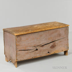 Early Pine Chip-carved Six-board Chest