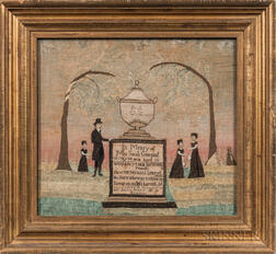 Needlework Mourning Picture for Sarah Greenleaf