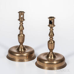 Pair of Tall Brass Bun-base Candlesticks