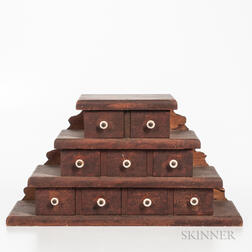 Stepped Wood Case of Nine Drawers