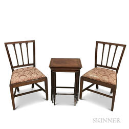 Pair of Federal Mahogany Side Chairs and a Set of Three Nesting Tables.     Estimate $250-350