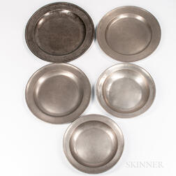 Five Pewter Chargers