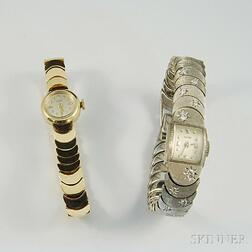 Two 14kt Gold Lady's Warren Bracelet Wristwatches