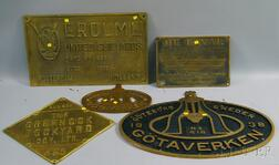 Five Brass Nautical Themed Plaques