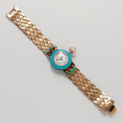 14kt Gold, Enamel, and Turquoise Wristwatch