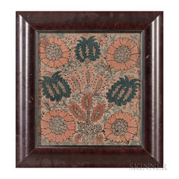 Ottoman Silk and Metal Thread Embroidery Panel