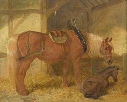 Attributed to John Frederick Herring Sr. (British, 1795-1865)  Mare and Foal in a Loose-Box