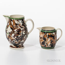 Two Don Carpentier Slip-marbled Jugs